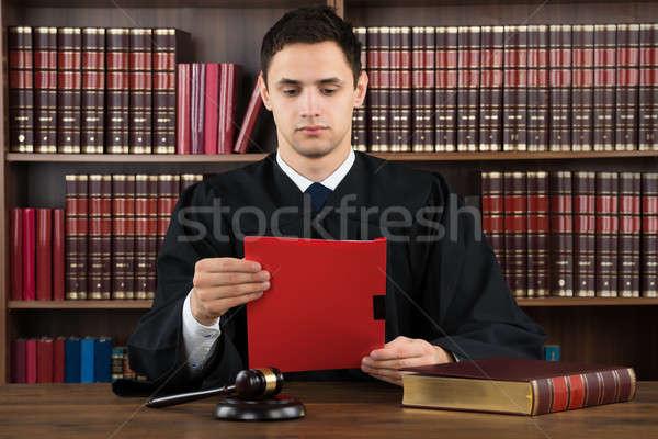 судья чтение правовой документа столе молодые Сток-фото © AndreyPopov