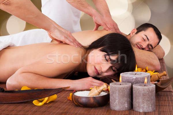 Photo stock: Couple · Retour · massage · spa