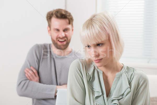 Człowiek argument kobieta młody człowiek nieszczęśliwy Zdjęcia stock © AndreyPopov