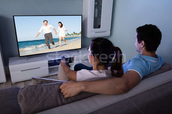 пару смотрят фильма вместе вид сзади телевидение Сток-фото © AndreyPopov