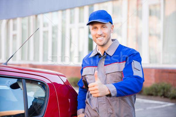 Portre mutlu adam genç ayakta araba Stok fotoğraf © AndreyPopov