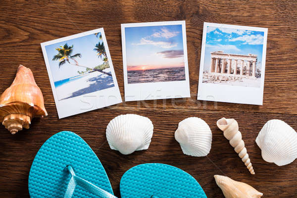 Beach Vacation Concept On Wooden Desk Stock photo © AndreyPopov