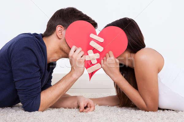 Pareja rojo papel corazón fijado Foto stock © AndreyPopov