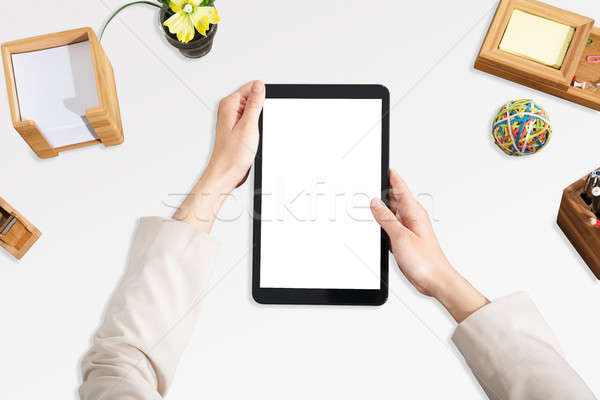 Stockfoto: Digitale · tablet · witte · scherm · hand
