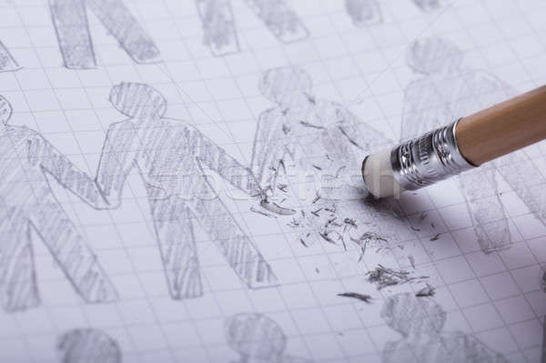 Pencil Eraser Erasing Drawn Figures Stock photo © AndreyPopov