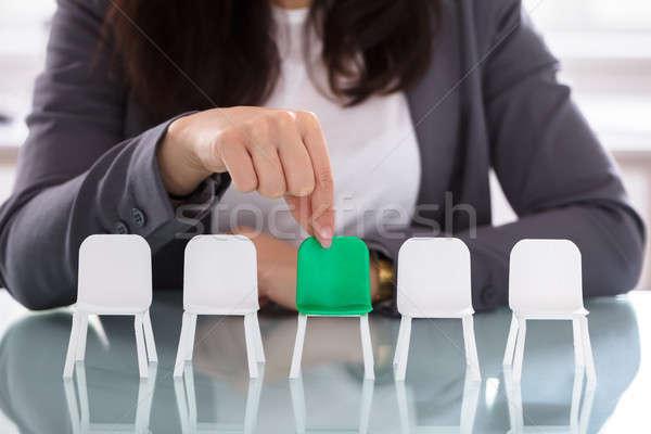 üzletasszony választ zöld szék fehér székek Stock fotó © AndreyPopov