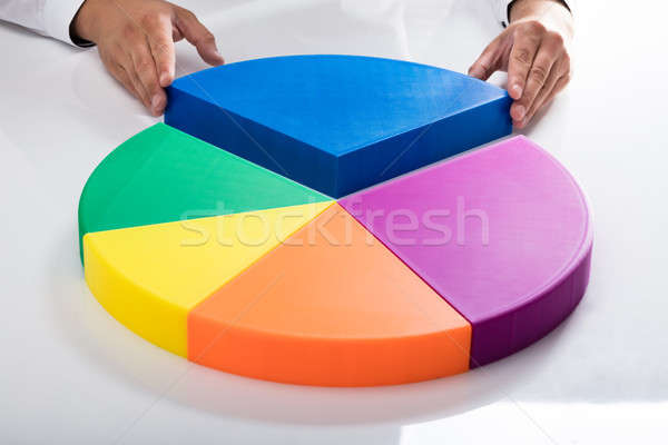 Human hand placing final piece into pie chart Stock photo © AndreyPopov