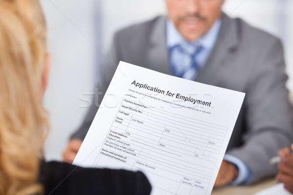 Photo stock: Femme · d'affaires · demande · forme · séance · affaires