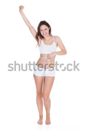 Seksi kadın beyaz kadın iç çamaşırı silah üzerinde Stok fotoğraf © AndreyPopov