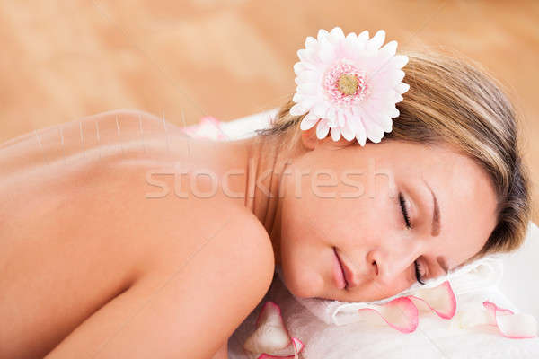 Acupuncture needle inserted Stock photo © AndreyPopov