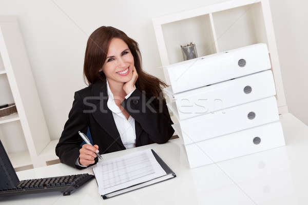Geschäftsfrau Papierkram Porträt Frau Frauen Stock foto © AndreyPopov