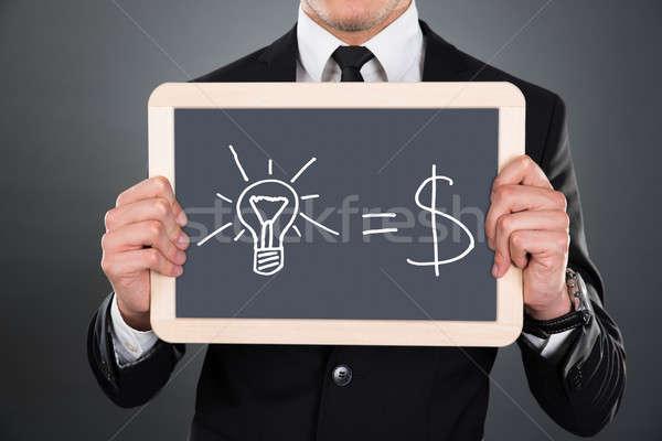бизнесмен Идея уравнение молодые серый Сток-фото © AndreyPopov