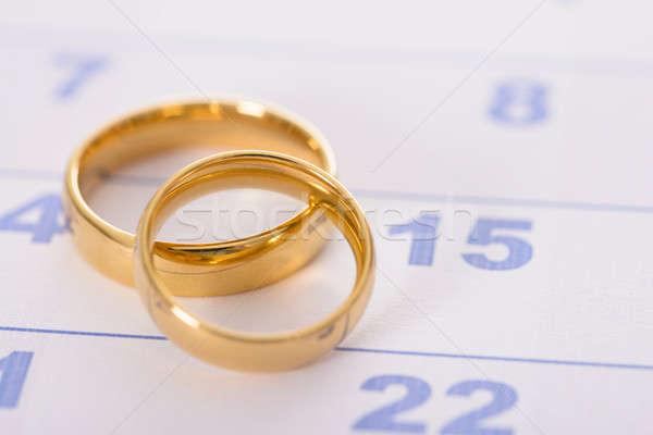 Ringe Kalender Foto golden Paar Stock foto © AndreyPopov