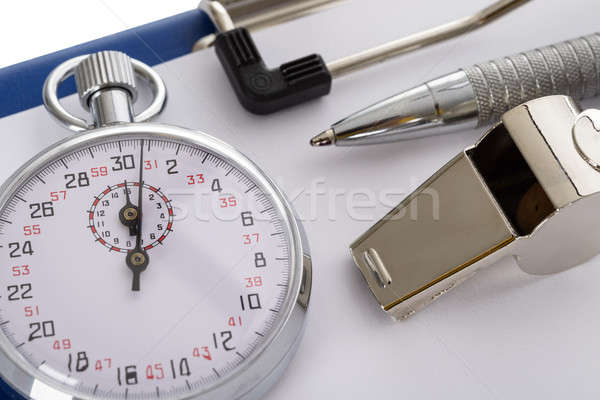 Clipboard With Whistle; Pen; Paper And Stopwatch Stock photo © AndreyPopov