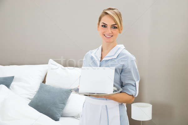Woman Holding Tray With Placard Stock photo © AndreyPopov
