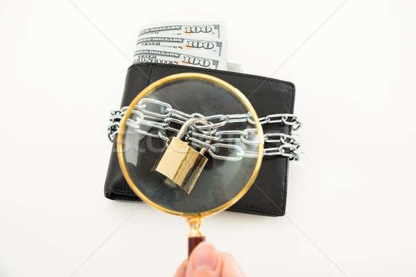 人 手 虫眼鏡 ウォレット クローズアップ 調べる ストックフォト © AndreyPopov