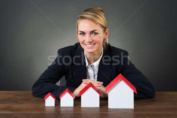 笑みを浮かべて 女性実業家 モデル 住宅 グラフ 注文 ストックフォト © AndreyPopov