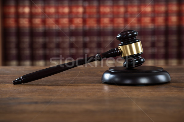 Mallet On Table In Courtroom Stock photo © AndreyPopov