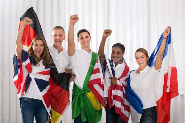 Hazafias emberek zászlók különböző csoport boldog emberek Stock fotó © AndreyPopov