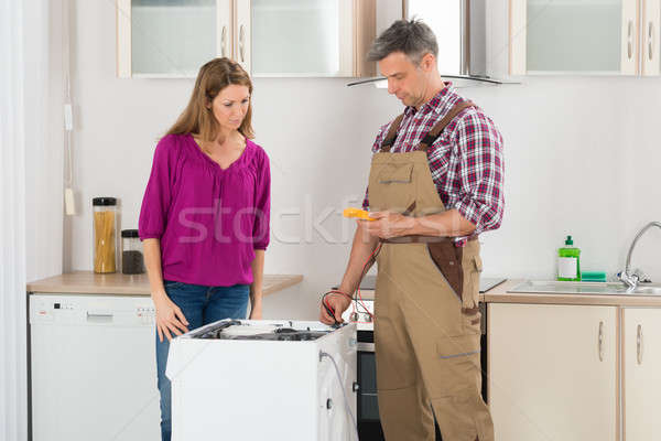 Technician Checking Washing Machine Stock photo © AndreyPopov
