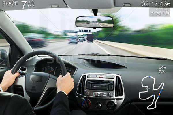 Stock fotó: Közelkép · videojáték · képernyő · autó · játék · pontszám