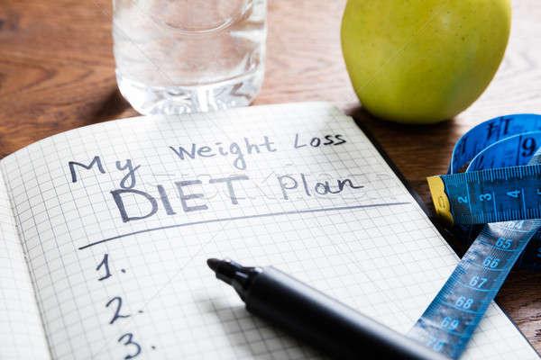диета плана Здоровый образ жизни столе древесины Сток-фото © AndreyPopov