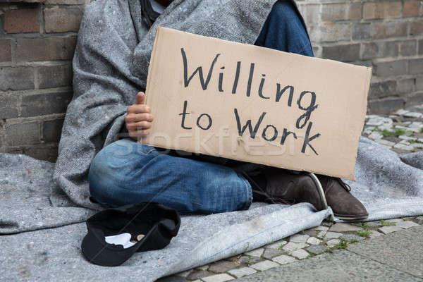 Hajléktalan férfi tart karton szöveg munka Stock fotó © AndreyPopov