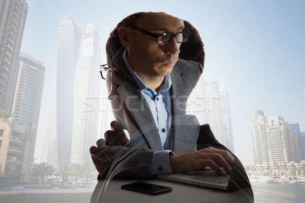 Digital composite biznesmen budynków garnitur pracy miasta Zdjęcia stock © AndreyPopov