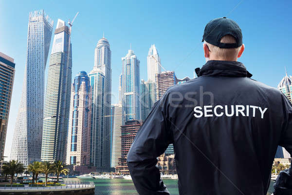 Security Guard Looking At City Skyline Stock photo © AndreyPopov