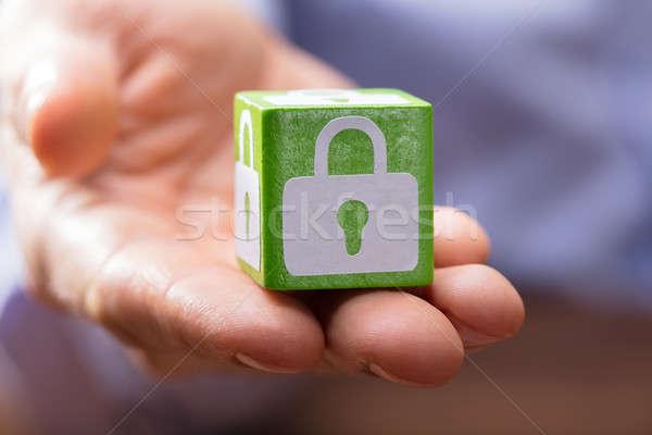 Hand Holding Green Block With Lock Symbol Stock photo © AndreyPopov