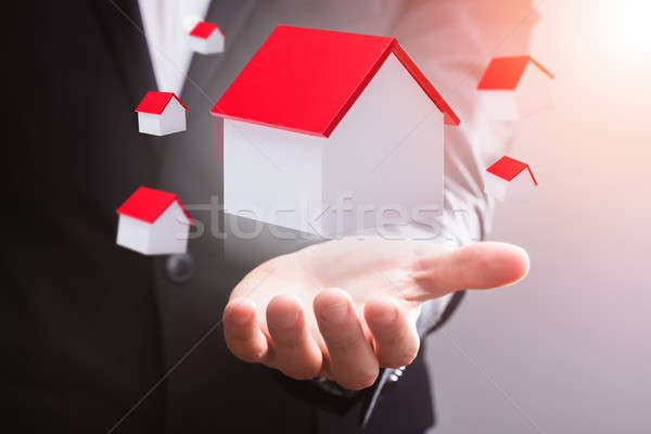 House Models Floating In Mid-air Over Businessperson's Hand Stock photo © AndreyPopov