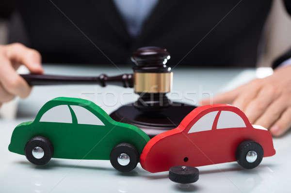 Közelkép piros zöld autó csattanás bíró Stock fotó © AndreyPopov