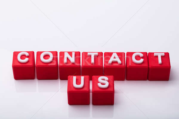 Elevated View Of Red Cubes With Contact Us Text Stock photo © AndreyPopov