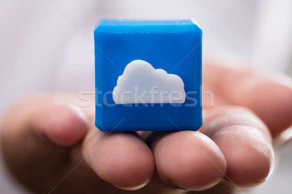 Chmura icon strony niebieski Zdjęcia stock © AndreyPopov