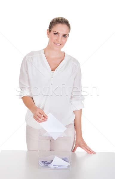 Nő szavazócédula doboz fehér stúdió személy Stock fotó © AndreyPopov