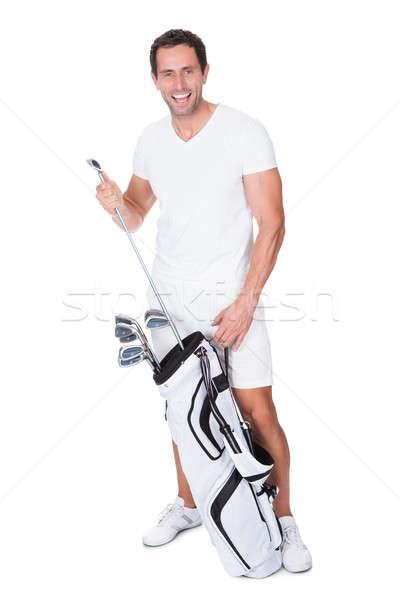 Golfozó golf klub golftáska fehér mosoly Stock fotó © AndreyPopov