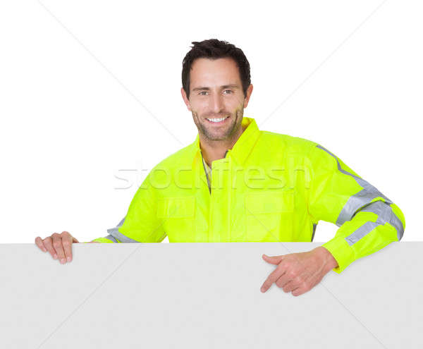 Happy worker wearing safety jacket Stock photo © AndreyPopov