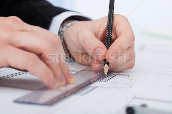 Foto stock: Empresário · trabalhando · diagrama · secretária · imagem · escritório