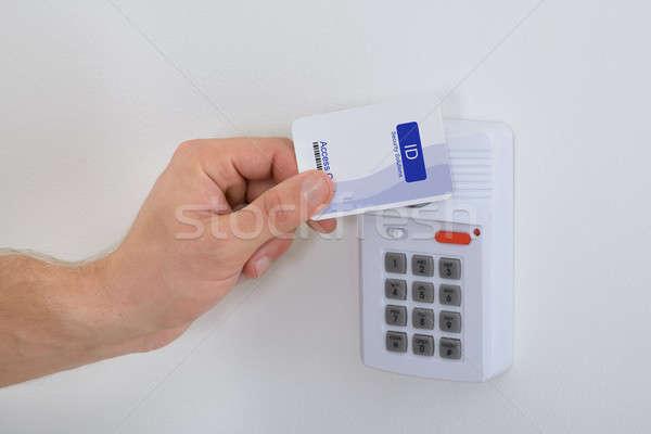 Foto stock: Segurança · cartão · pessoa · abrir · a · porta