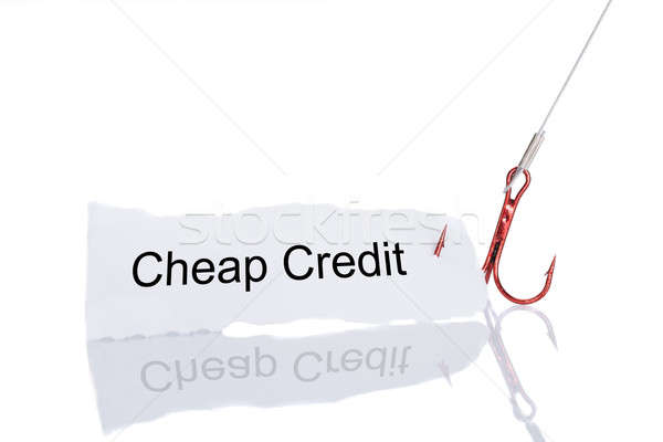 Cheap Credit Paper Trapped In Fishhook Stock photo © AndreyPopov