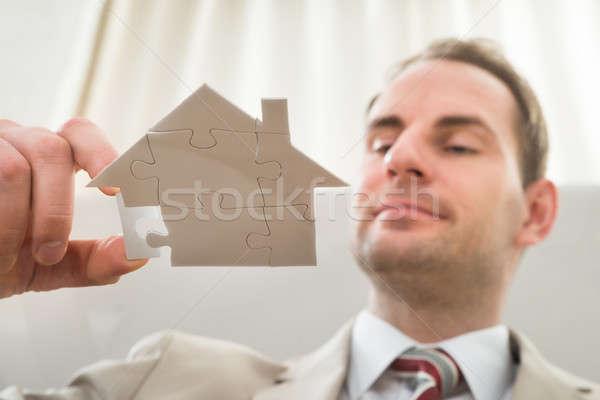 бизнесмен дома форма головоломки стекла бизнеса Сток-фото © AndreyPopov