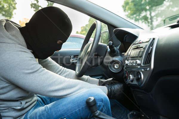 вора маске сидят автомобилей человека двери Сток-фото © AndreyPopov