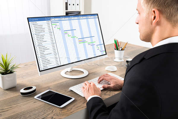 Businessman Working On Gantt Chart At Office Stock photo © AndreyPopov