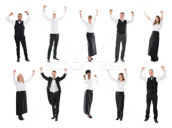 Collage Of Restaurant Staff Raising Arms Stock photo © AndreyPopov