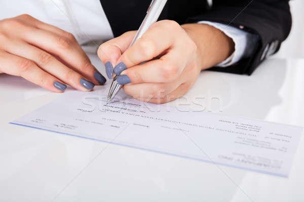 Personnes main signature chèque bureau Photo stock © AndreyPopov