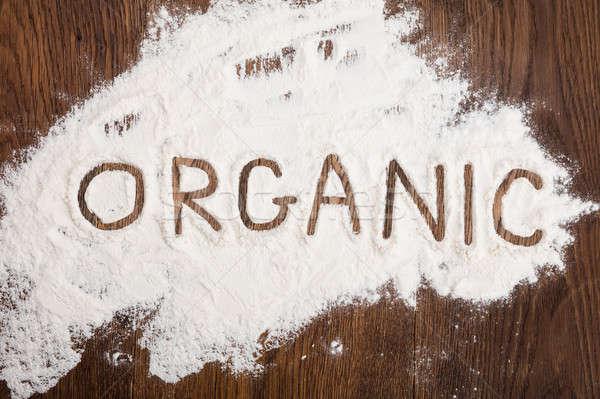 Orgânico escrito farinha ver texto Foto stock © AndreyPopov