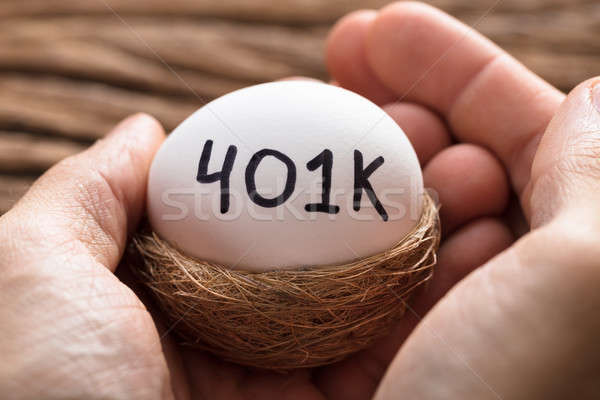 Hands Holding 401K White Egg In Nest Stock photo © AndreyPopov