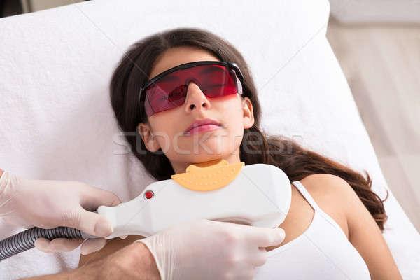 Lézer epiláció kezelés áll fiatal nő arc Stock fotó © AndreyPopov