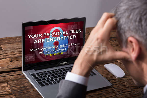 Looking At Laptop Screen Showing Personal Files Encrypted Text Stock photo © AndreyPopov