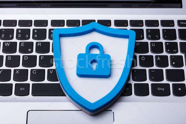 Kék biztonság ikon laptop numerikus billentyűzet magasról fotózva Stock fotó © AndreyPopov
